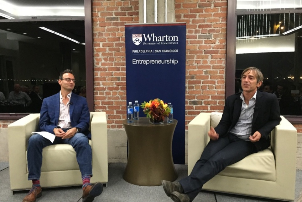 Andrew Trader and Mark Pincus at the Wharton Entrepreneurship Dinner